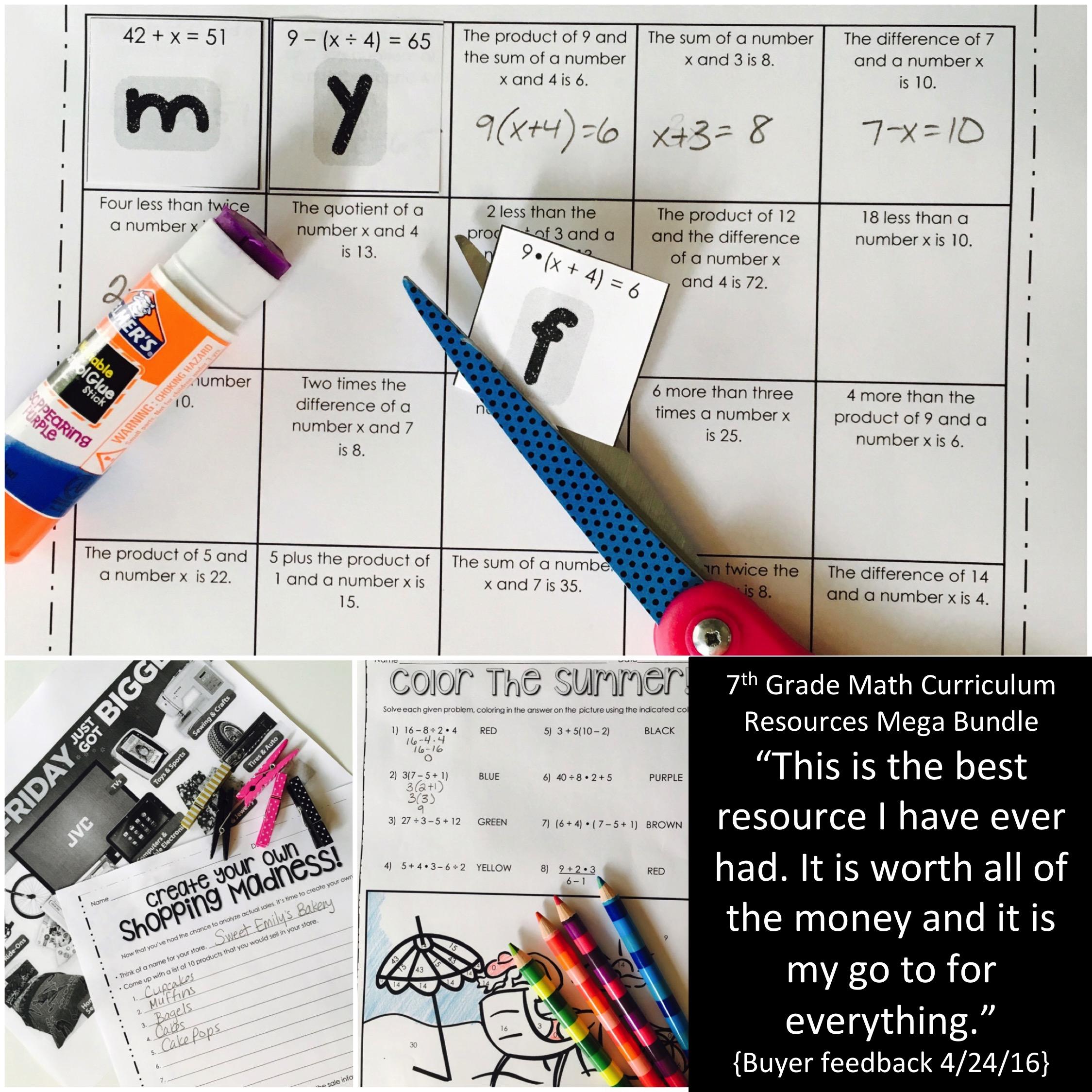 7th Grade Math Curriculum Resources Activity Bundle